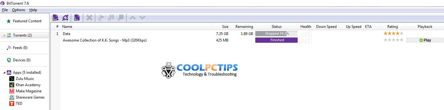 BitTorrent 7.6 client