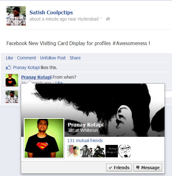 Facebook new update visiting cards