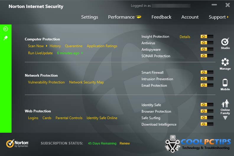 Norton Internet Security 2013 Review - Advanced UI