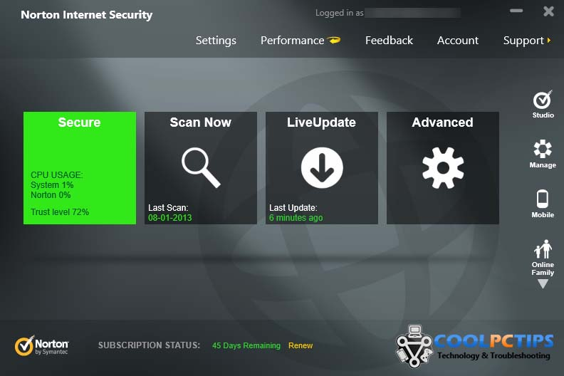 Norton Internet Security 2013 Review - Main UI