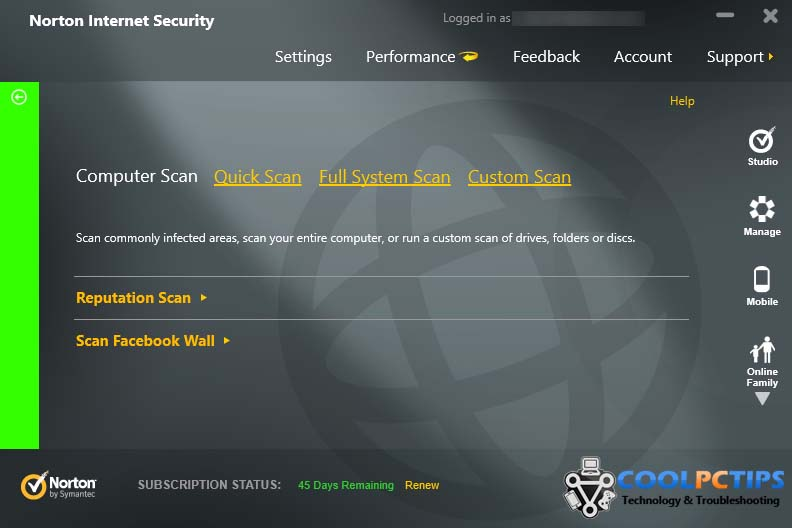 Norton Internet Security 2013 Review - Scan UI