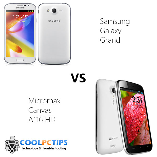 Samsung Galaxy Grand vs Micromax Canvas A116 HD