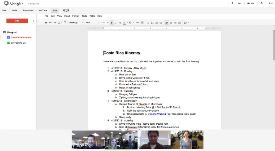 Google Docs Now Available in G+ Hangouts