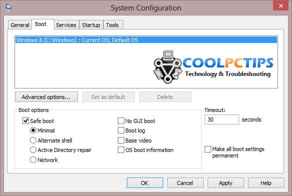How to start Windows 8 Safe Mode - MSConfig