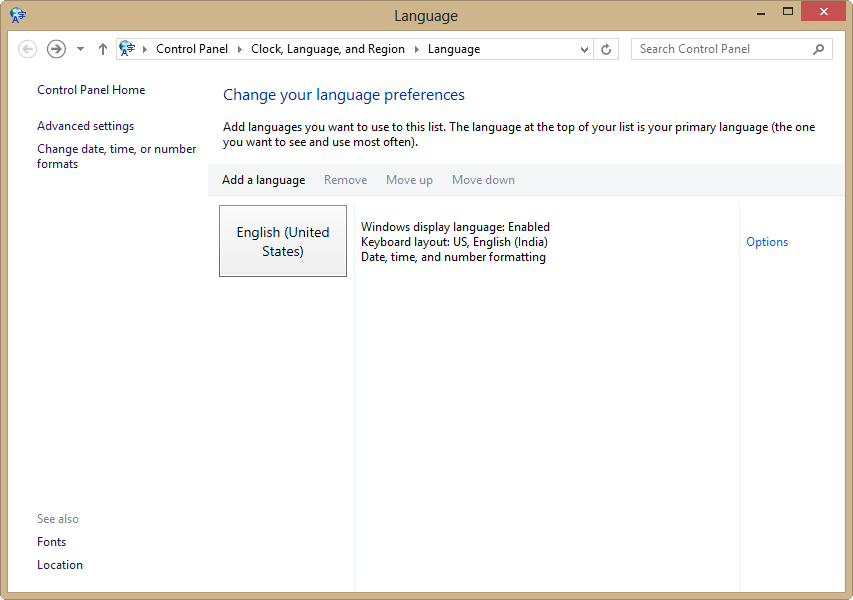 changing language preferences