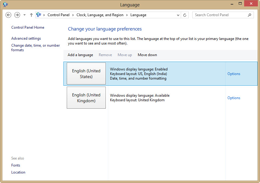 selecting languages in windows 8