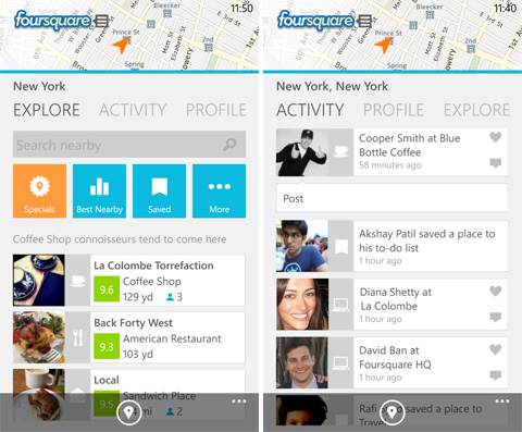 Must have Windows Phone 8 apps - Foursquare
