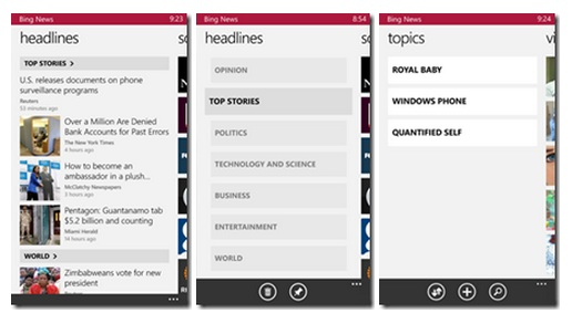 Bing Apps For Windows Phone 8 - Bing News