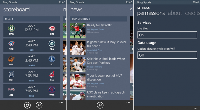 Bing Apps For Windows Phone 8 - Bing Sports