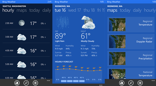 Bing Apps For Windows Phone 8 - Bing Weather