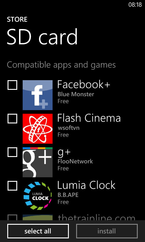 How to installs apps on Windows Phone 8 from memory card - SD Card