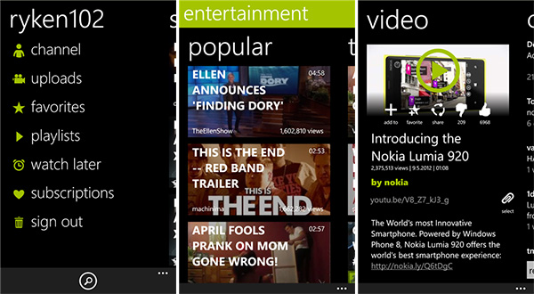 Top 4 YouTube Apps For Windows Phone 8 - myTube