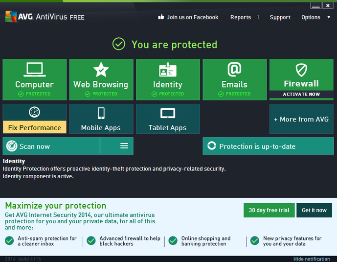 Top 5 Best Free Antivirus Software For Windows 8.1 - AVG Free 2014
