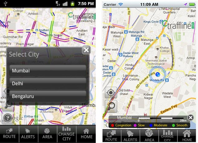 Traffline app for indian cities